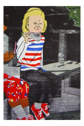 Color woodblock print of a photo of Kristin Powers Nowlin from 1975.