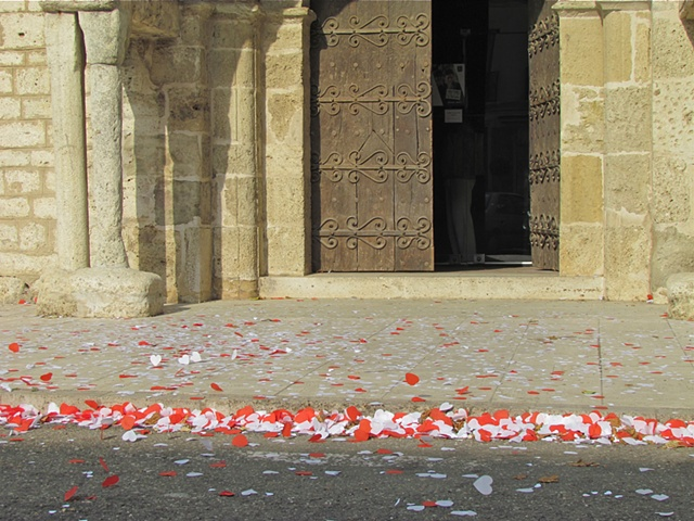 paper hearts, red, white, stone church, heavy wood doors, stone walkway, wedding