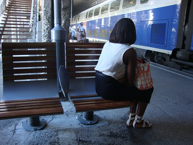 train, blue, dark, station, white, sandals, white, pink, wood, bench, concrete, stairs, suitcase, bag, purse, black, metal