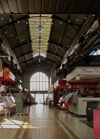 Les Halle, covered market, red, burgundy, high ceilings, vendors, shoppers