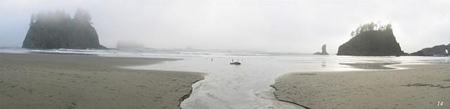 Second Beach, Olympic Peninsula, seastacks, coastlines, fog