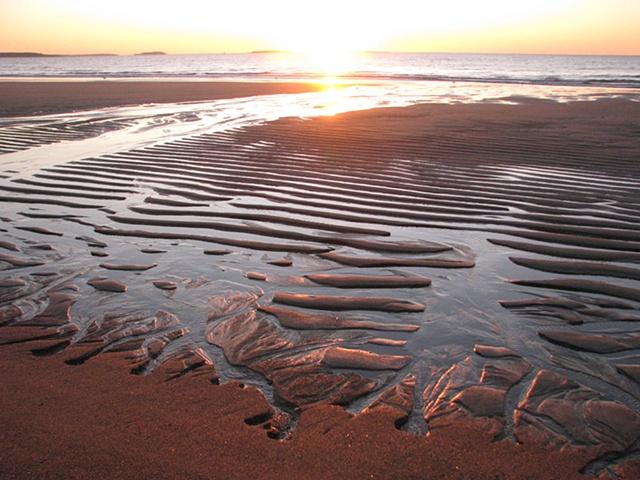 beach, coastline, sunrise, Maine coast
