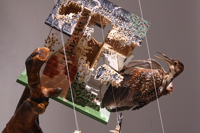 Recycled taxidermy, birdhouse, thread, taxidermy wood mount, woodchips