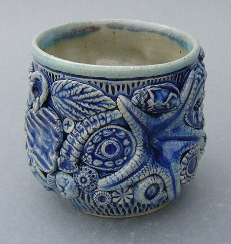 Dirty Monkey Cup with Rattlesnake Buttons and Starfish (other view)