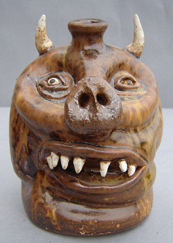 Devil Pig Whiskey Face Jug