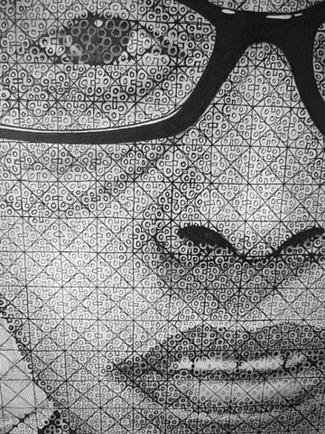 2-D Design: Chuck Close Grid/Abstraction Assignment (detail)