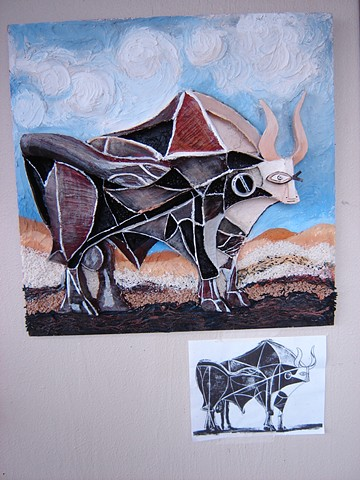 Picasso Bull  3-D Design, FVCC 3-D Relief from Cubist Painting