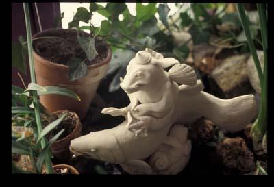 Porcelain Troll Riding Trout Fountain