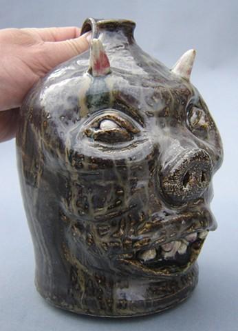 Black Devil Pig Whiskey Face Jug