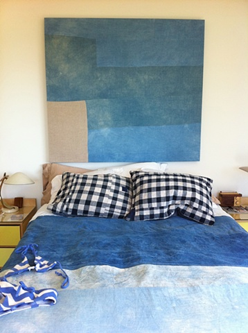 Installation bedroom detail- duvet (South Swell) painting (Marine Layer) , pillow cases (Board Shorts)