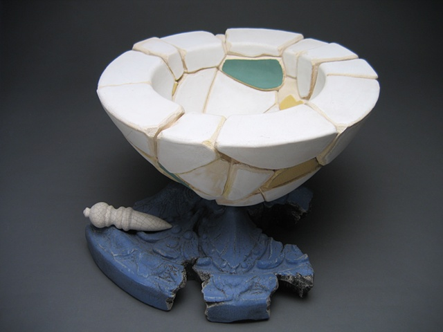 pedestal sculpture of reconstructed ceramic bowl