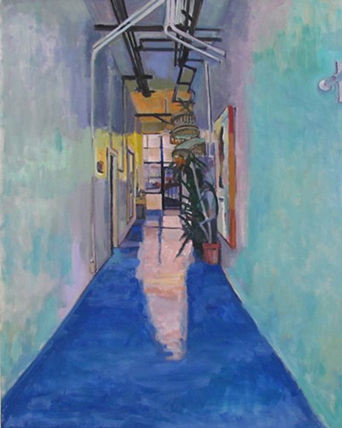 hallway, umbrellas, plants, door, open door, blue floor,