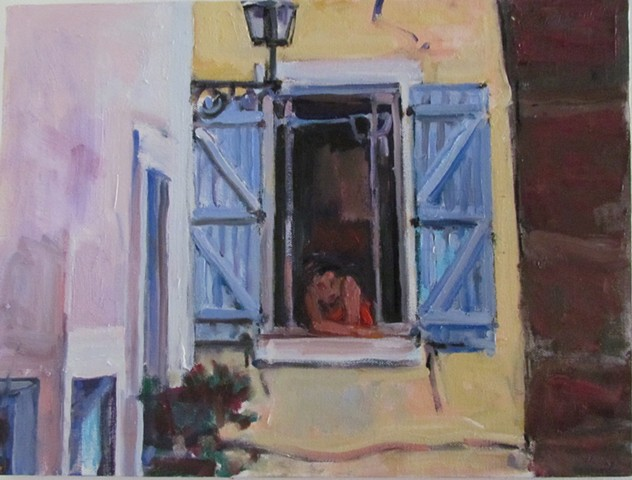 window, open, figure, shutters, blue, orange, white, pink, ledge, lamp, yellow, ochre, arms, face,