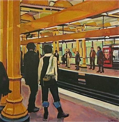 Paris Metro, people, copper,gold, riders, winter, coats, scarves, track, colors reflecting, support beams, boots, jeans,