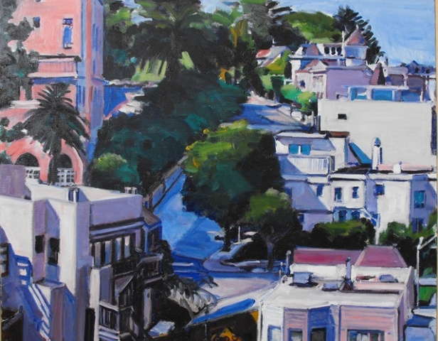 pink, blue, white, green, houses, hillside, trees, crooked street, palm trees,