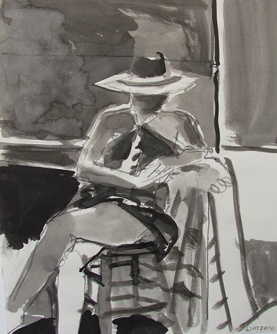 clothed figure, woman, seated, stool, broad brimmed, hat, face in shadow