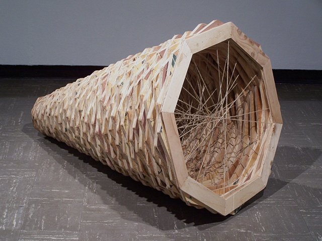 "Untitled 2005, 36"" x 57"", recycled plywood, wood glue, staples, jute"