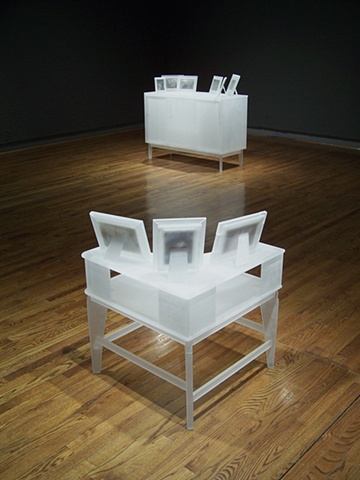 Installation view. *Occasional Table* (foreground) & *Credenza* (background).