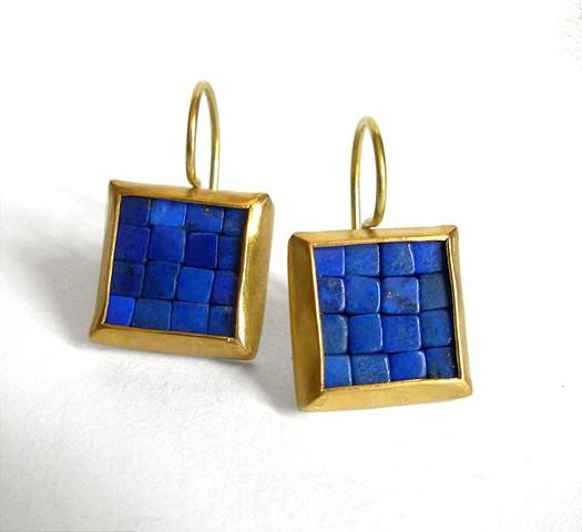 mosaic earrings, lapis lazuli gold earrings, gold lapis lazuli earrings, gold mosaic earrings