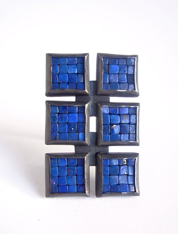 mosaic brooch, lapis lazuli brooch