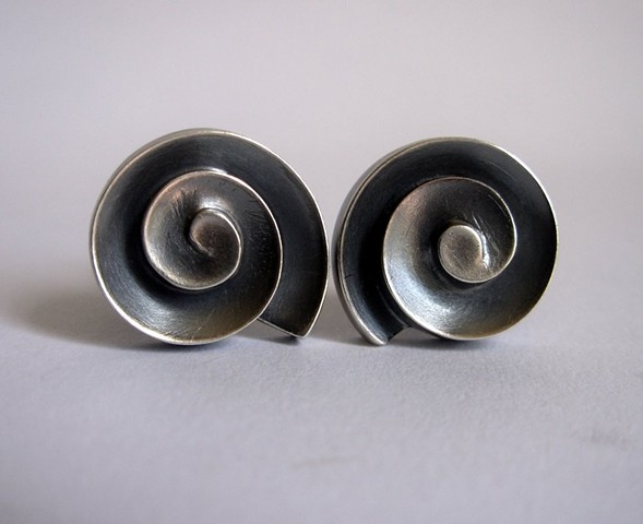 cello scroll cuff links, silver cuff links, scroll cuff links, sculptural cufflinks