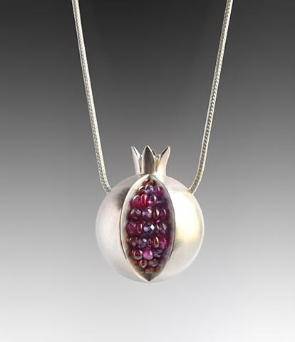 pomegranate necklace, pomegranate pendant, silver pomegranate necklace, pomegranate ruby necklace