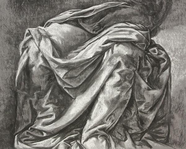 charcoal fabric study
