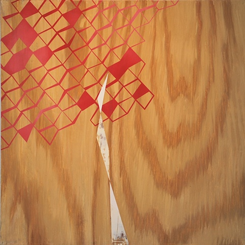 representational, trompe l'oeil, faux bois, Brancusi influenced painting of ply-wood