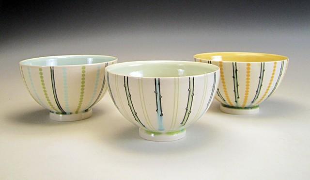 3 thrown porcelain soup bowls with underglaze and overglaze decals