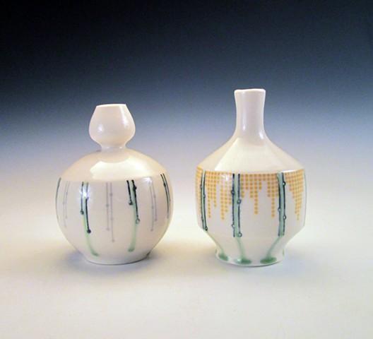 2 thrown porcelain bud vase's with underglaze and overglaze decals