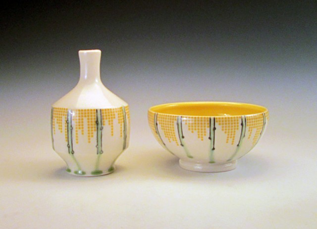 thrown porcelain bud vase and bowl with underglaze and overglaze decales