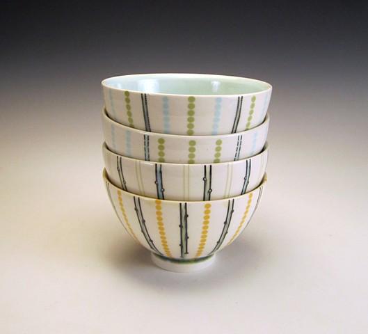 4 thrown porcelain soup bowls with underglaze and overglaze decals