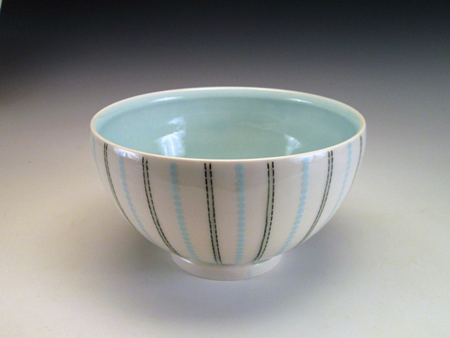 thrown porcelain serving bowl with undreglaze and overglave decals