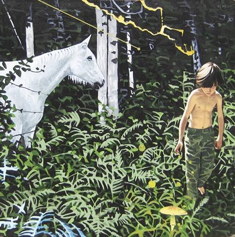 Line, acrylic on panel, 2010, 18 x 18