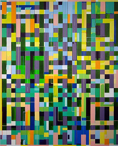 Kyle Trowbridge QR code paintings art. geometric painting. abstract painting.