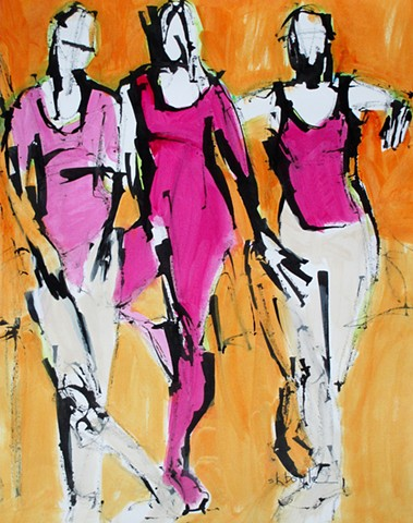 Figurative abstract art, abstract figurative painting, modern, contemporary, colorful