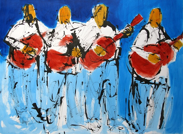 abstract figurative painting of four Guitar players. Expressive contemporary art. Artist News.
