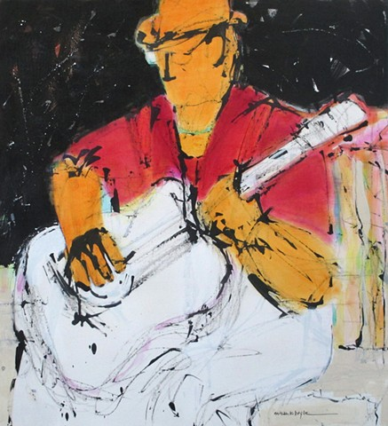 Guitar #2 is an example of abstract figurative art. It is available at Ugallery.com.