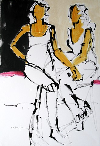 Two women, abstract figurative painting, figurative abstract artist, contemporary, modern, colorful