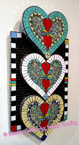 3 D glass mosaic hearts