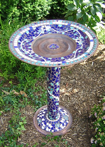 Mosaic Birdbath on Copper Sold