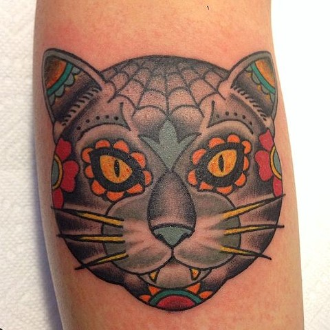 day of the dead, cat tattoo, markus, markus anacki, chameleon tattoo, harvard square, cambridge, black and gray, tattoo artist, boston, tattoo, i hate markus, cambridge tattoo, boston tattoo, tattoo shop, tattoo shop cambridge, boston tattoo convention,