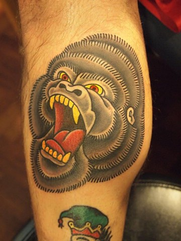 traditional tattoo, gorilla, gorilla tattoo, markus, markus anacki, chameleon tattoo, harvard square, cambridge, black and gray, tattoo artist, boston, tattoo, i hate markus, cambridge tattoo, boston tattoo, tattoo shop, tattoo shop cambridge, boston tatt