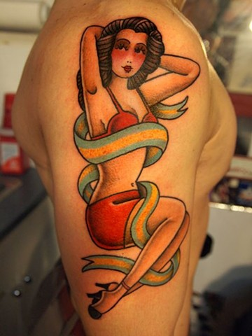 traditional tattoo, pinup, pinup tattoo, boston strong, markus, markus anacki, chameleon tattoo, harvard square, cambridge, tattoo artist, boston, tattoo, i hate markus, cambridge tattoo, boston tattoo, tattoo shop, tattoo shop cambridge, boston tattoo co