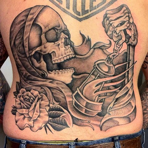 skull tattoo, grim reaper tattoo, black and gray tattoo, saint tattoo, religious tattoos, black and gray, markus, markus anacki, chameleon tattoo, harvard square, cambridge, tattoo artist, boston, tattoo, i hate markus, cambridge tattoo, boston tattoo, ta