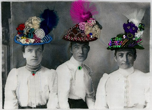 three hats with ladies