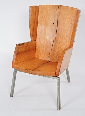 wingback chair in salvaged red oak comfortable
