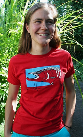 Anna Hoover modeling her  anti-Pebble Mine t-shirt