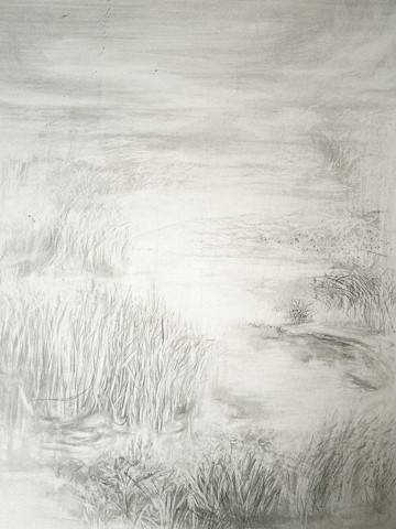 Mongolian grassland, Daqing wetland, China environment, drawing