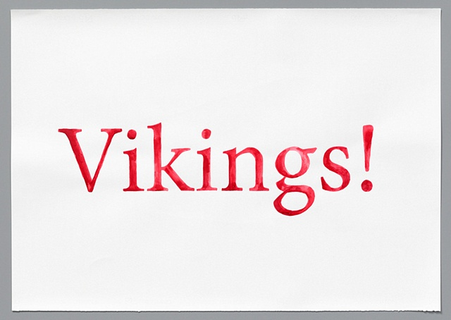"text watercolor drawing ""Vikings"" by artist Joe Hardesty"
